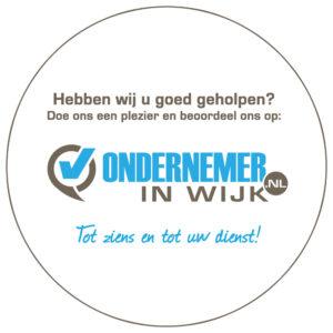 Raam sticker ondernemerinwijk.nl voor binnen