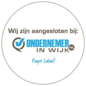 Raam sticker ondernemerinwijk.nl voor buiten